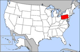 Map of the U.S. with Pennsylvania highlighted