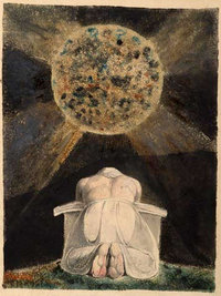 "Illustration: The archetype of the ""creator"" is a familiar image in the illuminated books of William Blake. Here, Blake depicts an almighty creator stooped in prayer contemplating the world he has forged. The  is the third in a series of illuminated books, hand-painted by Blake and his wife, known as the ""Continental Prophecies"", considered by most critics to contain some of Blake's most powerful imagery."