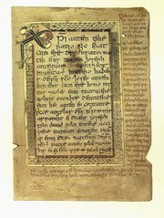 The  contains the oldest known Galeic text from Scotland, here seen in the margins of a page from the Gospel of Matthew.