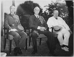 Chiang, , and Winston Churchill at the Cairo Conference in 1943