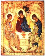 Famous Orthodox Icon representing three angels that visited  as a  of the Trinity.