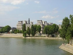 The Paris City hall behind the river Seine