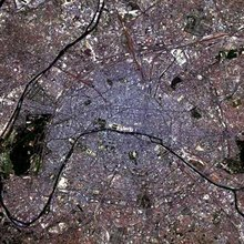 Another simulated-colour satellite image of Paris taken on the . This image zooms closer into the heart of the city.
