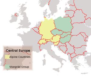 The Alpine Countries and the Visegrád Group (Political map, 2004)