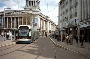 A tram passes the Council House in Market Square