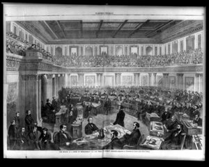Depiction of the impeachment trial of Andrew Johnson, then President of the United States, in 1868.